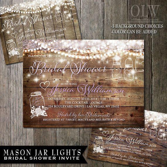 mason jar bridal shower invitation rustic wood with white mason jars and flowers country wedding invitations 2500 order now wwwoddlotweddingscom