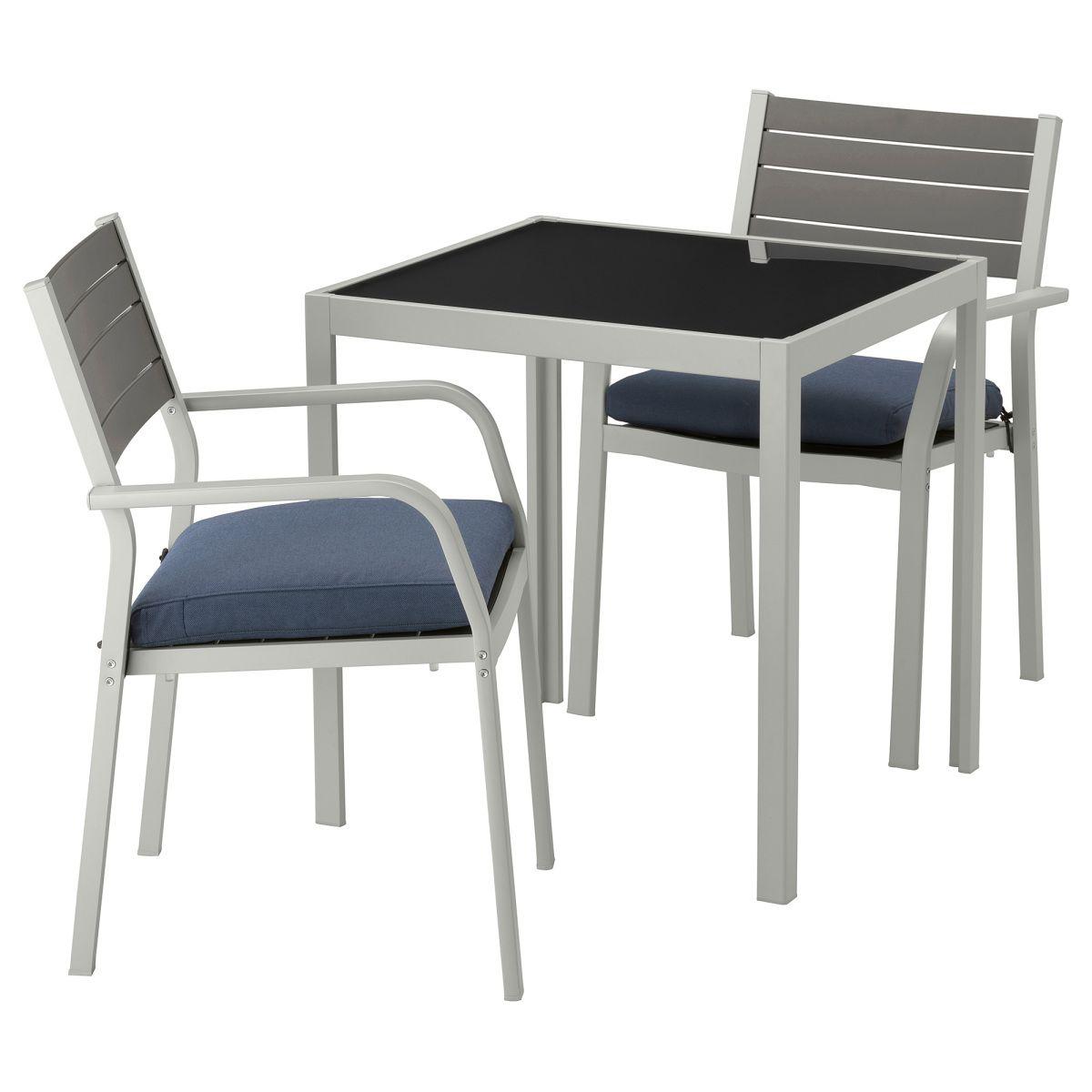 SJÄLLAND, Tisch und 2 Armlehnstühle/außen, Glas, blau Jetzt ...
