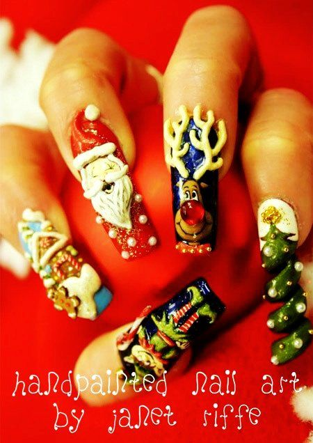 Santa Christmas 3d Nail Art Reindeer Christmas 3d Nail Art Designs
