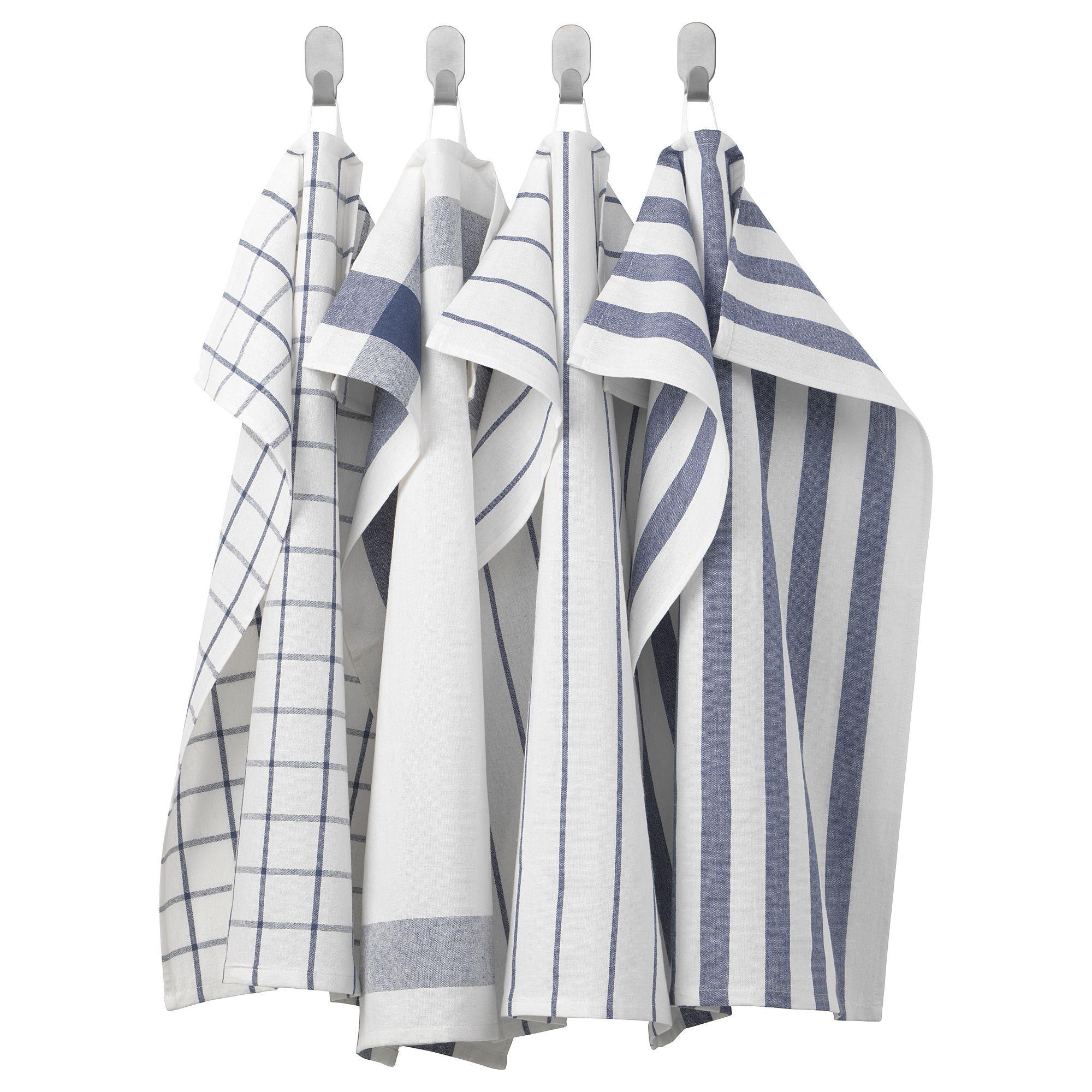IKEA - ELLY Tea-towel white, blue in 2019 | White towels ...