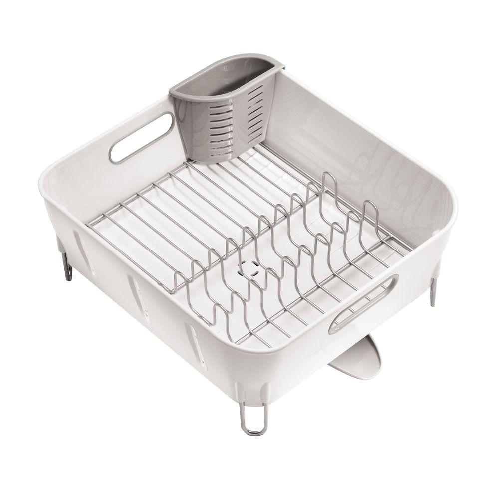 Simplehuman Compact Dish Rack In White Plastic Products Dish Racks Dishes Compact