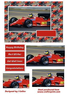 Formula 1 Card Front on Craftsuprint designed by Jeannette Collins - Formula 1 Card Front - Now available for download!