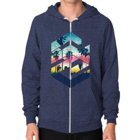 Geometric Sunset Beach (Brighter) Zip Hoodie (on man)