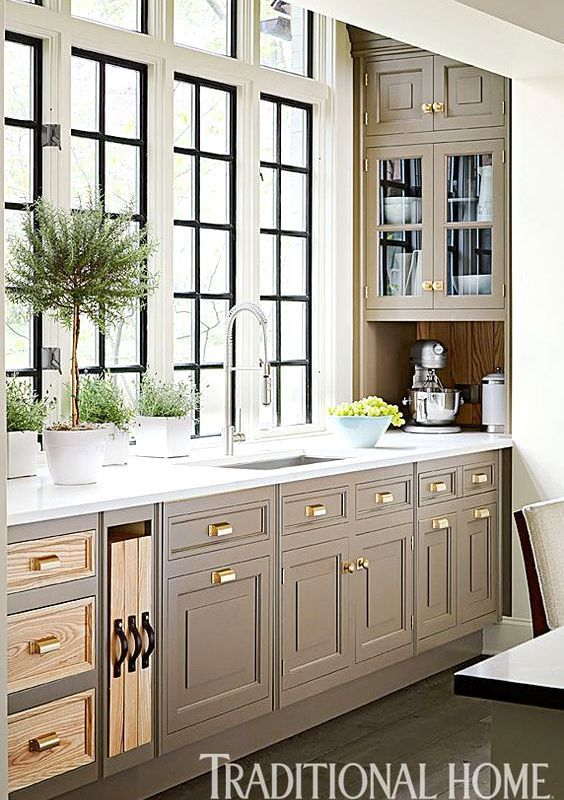 Finest Taupe Kitchen Cabinets Like the idea of dark windows with grid in  JD12
