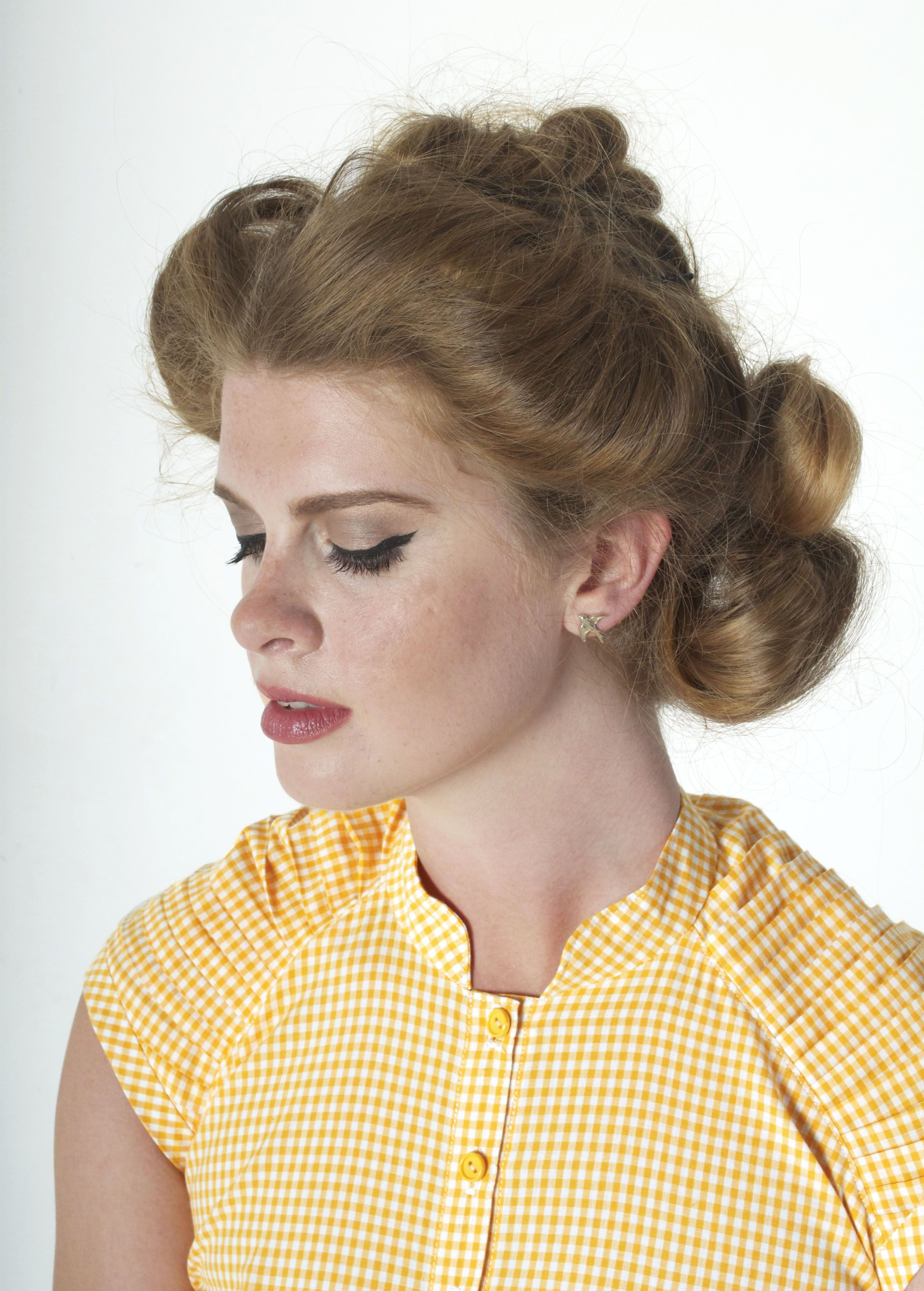 Organic Cotton Yellow Gingham Cropped Blouse [brm 2015]