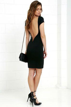 45c487241e Daring Dame Black Backless Bodycon Dress at Lulus.com!