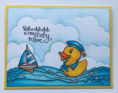 A #cre8time rubber ducky and his sailboat with #Stampendous and #metalstencils
