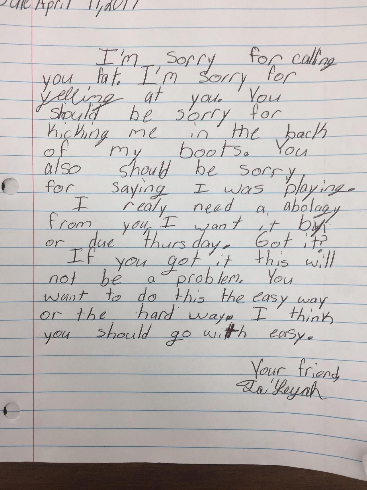 My friend is a 3rd grade teacher He made a student write an