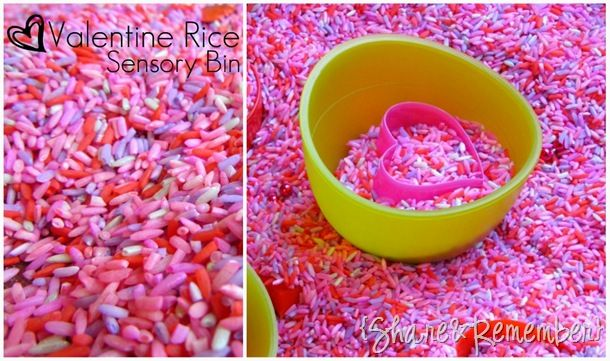 Our Valentine rice sensory bin includes: red, purple, pink and silver metallic colored rice {all colored with liquid watercolors except the red I used food coloring}. Recipe: 4 cups of rice, 2 TBS of coloring and 2 TBS of rubbing alcohol. Previously I used slightly more alcohol on the Rainbow Rice, but really I thought…