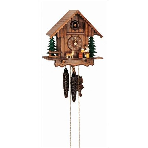 This chalet style clock unites two of Germany's most valued cultural traditions: drinking beer and making cuckoo clocks. Made in the Black Woods of Germany. Handcrafted by skilled artisans and made from real Black Forest linden wood. 9 inch, 1 Day Movement. $315.00