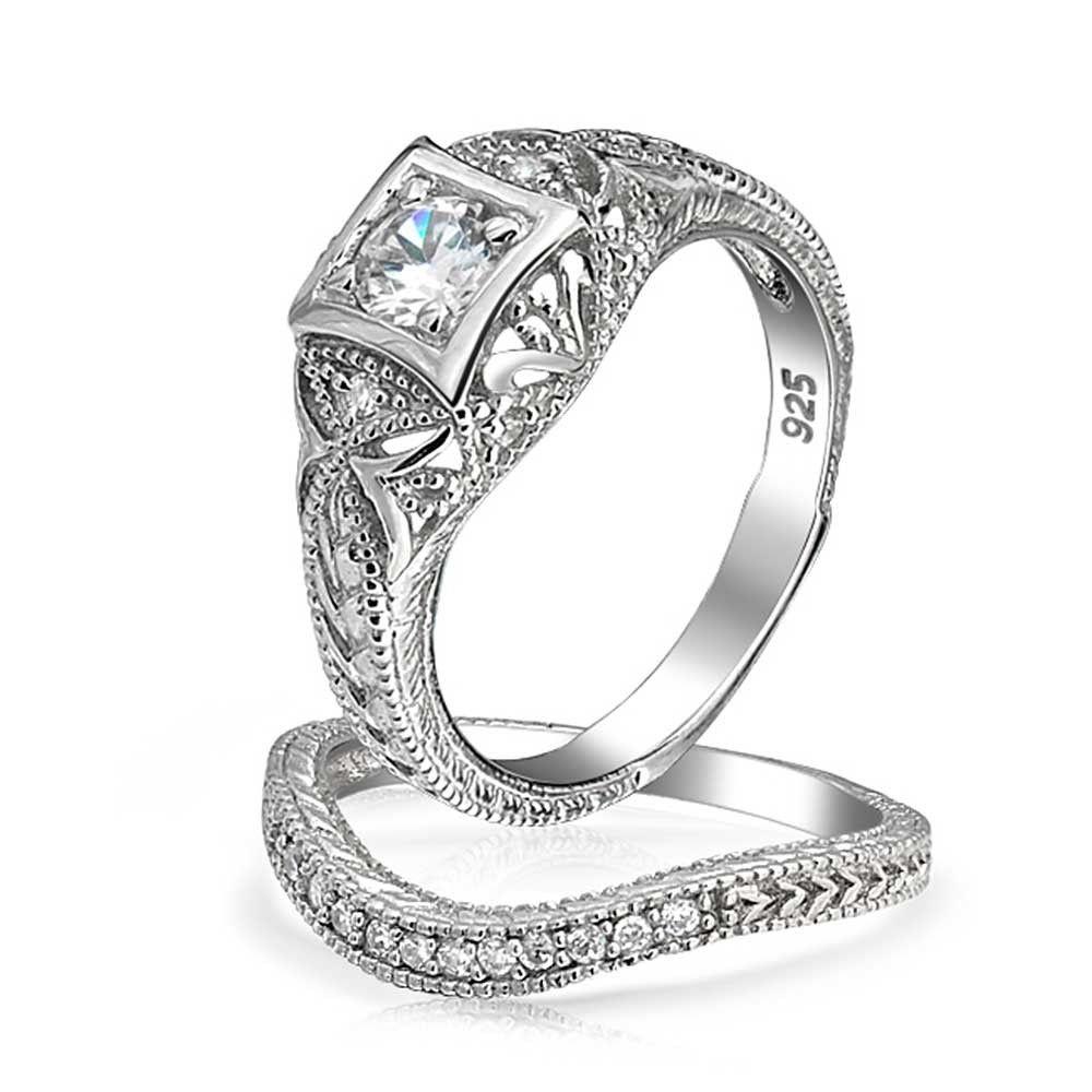 Antique silver round cz vintage waved anniversary wedding ring set