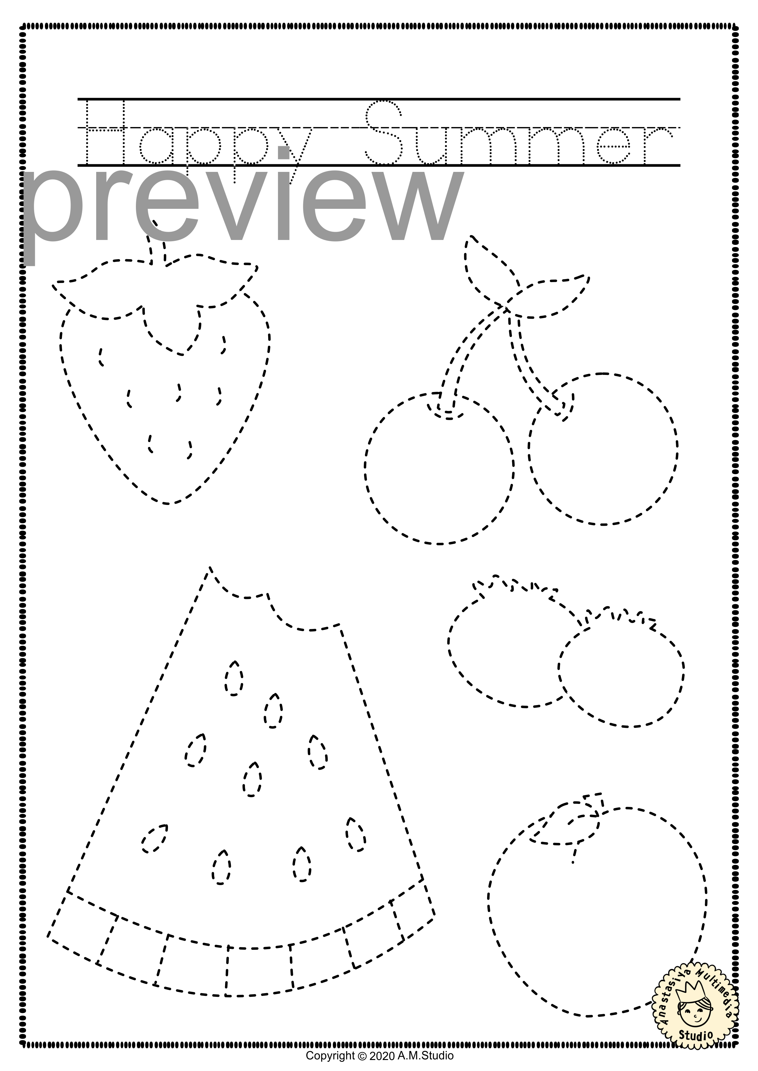 Summer Trace And Color Pages Fine Motor Skills Pre