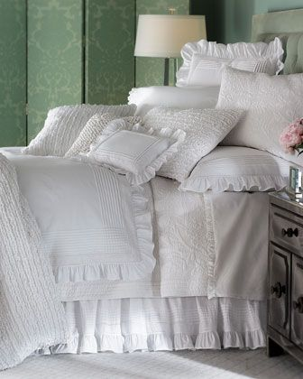 """Louisa Blanc"" Bed Linens by Pine Cone Hill at Horchow."