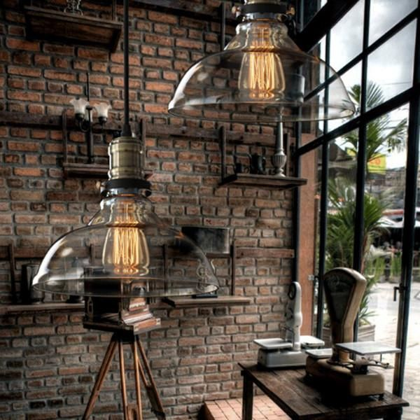 vintage american country style industrial clear and amber glass cover lampshade pendant hanging. Black Bedroom Furniture Sets. Home Design Ideas