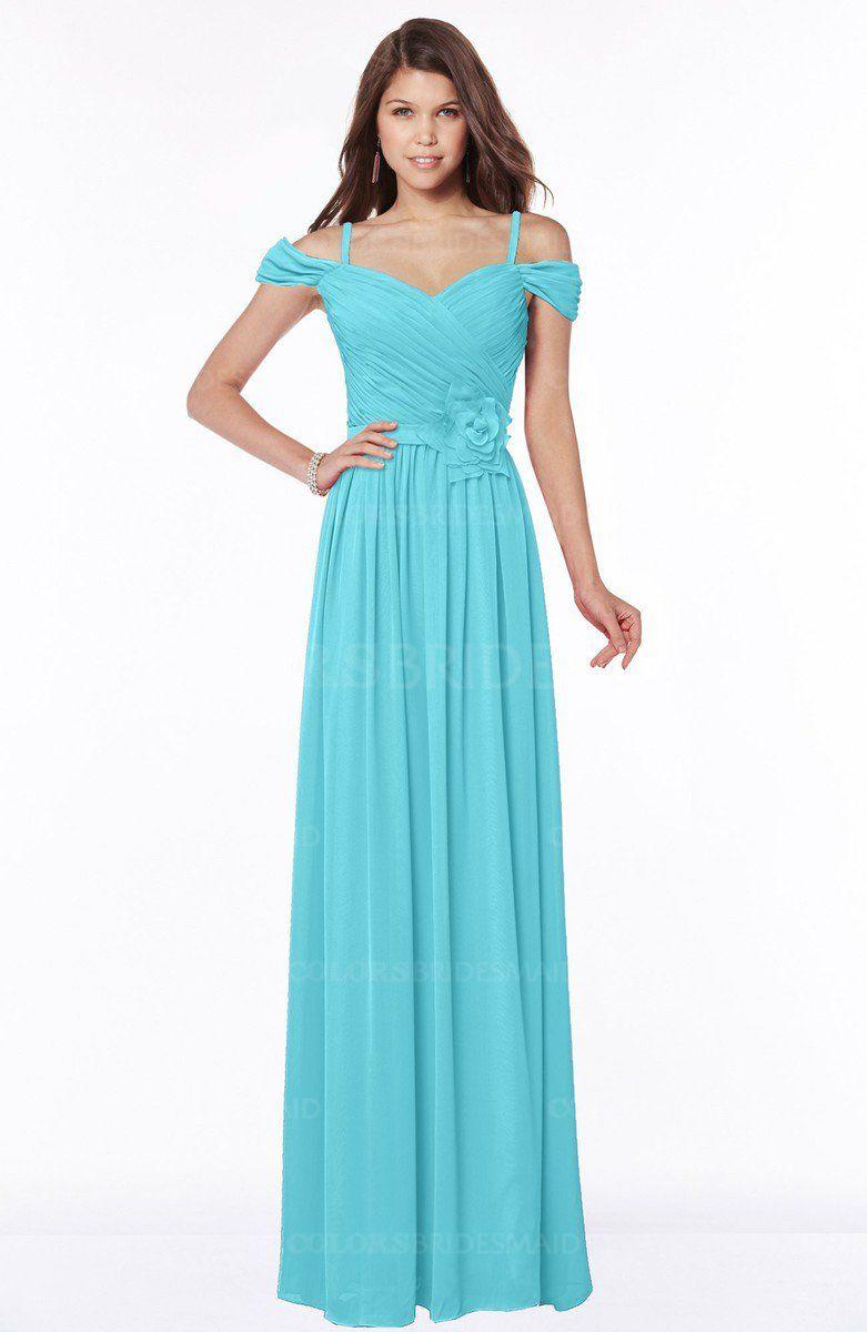 Turquoise luxury vneck short sleeve zip up chiffon bridesmaid