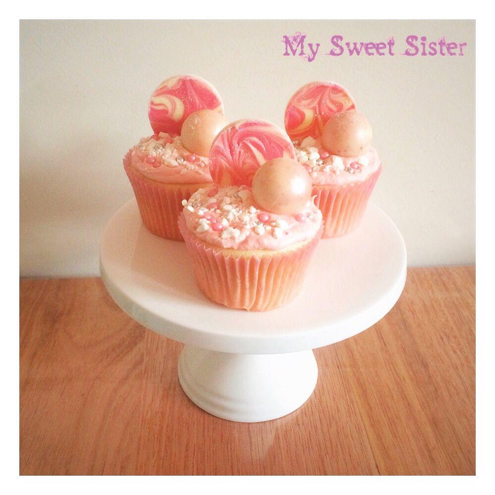 My Sweet Sister - pretty in pink cupcakes! Lindt balls, chocolate bark, raspberry buttercream, meringues, sprinkles, Melbourne