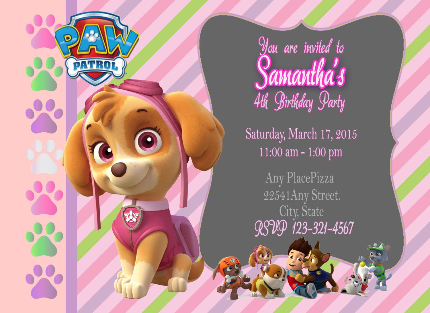 Paw Patrol Birthday Invitation Skye Girl Puppy By PrintDesignsByMimi On Etsy