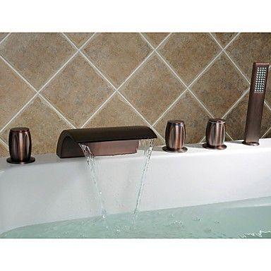 huilé robinet de bronze baignoire cascade répandue avec douche