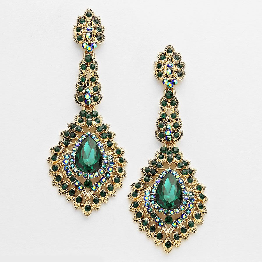 Green And Gold Vintage Emerald Burnished Victorian Chandelier Earrings By Summerbeauti On