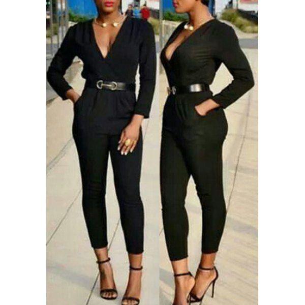 39ab38d72d9 Elegant Plunging Neck Black Long Sleeve Jumpsuit For Women - BLACK L