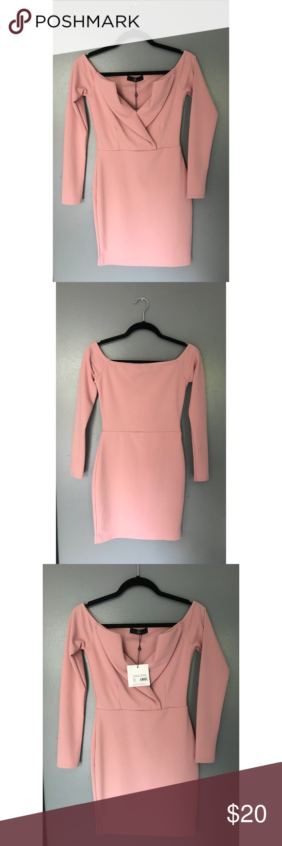 4fd32e865f09 NWT Missguided Pink Bardot Foldover Wrap Dress Never been worn! Light pink,  long sleeve body con dress. Falls on the mid thigh and has two lose flaps  on the ...