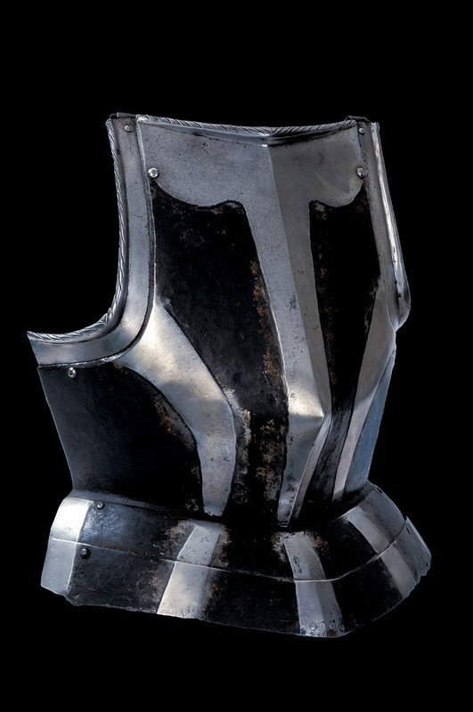 A black and white breast plate, Germany, early 16th century.