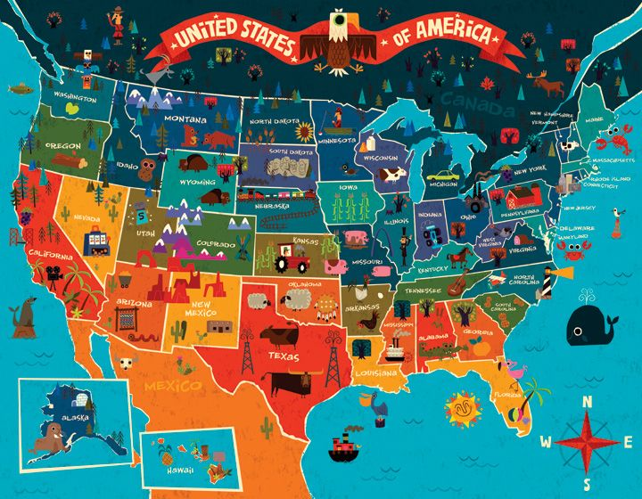 Map Ofthe United States Oopsy Daisy Fine Art For Kids - Us product map