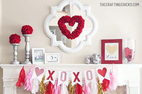 Valentine Mantle Inspiration Valentines Mantle Valentine Decorations Valentine S Day Diy