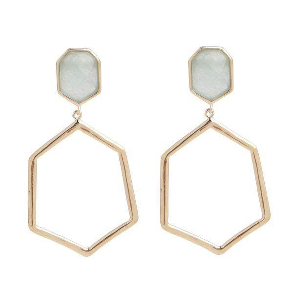 Marcia Moran blue agate geometric drop earrings