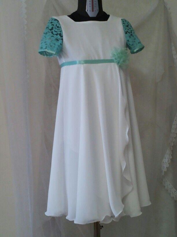 Vestiti Verde Tiffany Bambina.Abito Cerimonia Per Bimba In Chiffon Bianco E Pizzo Verde