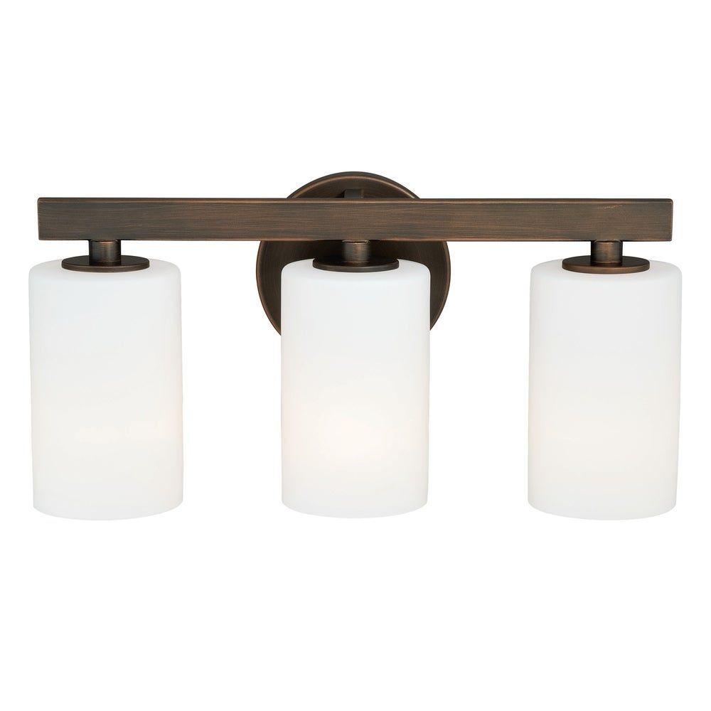 Photo of Glendale 3 Light Bronze Bathroom Furniture – 16.25 '' W x 8 '' H x 5 '' T.