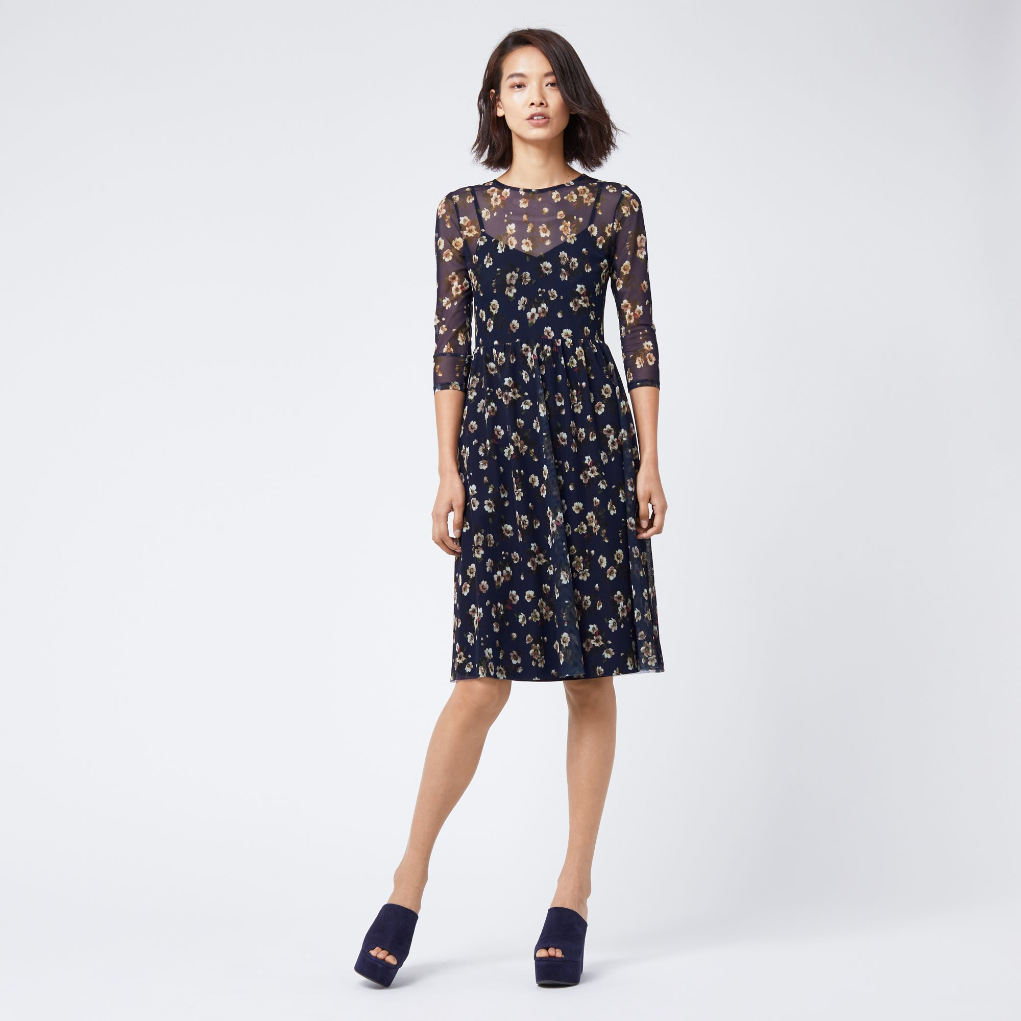 Floral print wedding guest dress  Warehouse MAE FLORAL PRINT MESH DRESS Multi   Wedding guest in