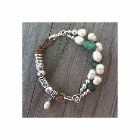 Freshwater Pearl Turquoise Silver Leather Bracelet Southwest Trending Native American Boho Bohemian Trendy Statement Jewelry Trends Under 55