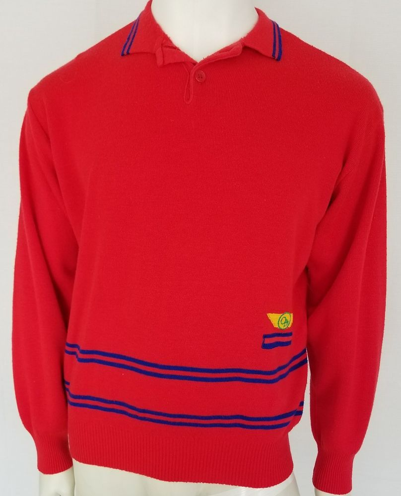 Vintage 70s 80s OP OCEAN PACIFIC Mens Red Collared Polo Pullover ...
