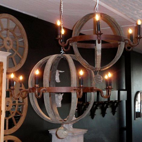 Reclaimed Wood Chandelier Made Of Iron With A Waxed Rust
