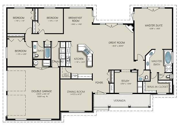 Country style house plan 4 beds baths 2563 sq ft for Simple house designs 4 bedrooms