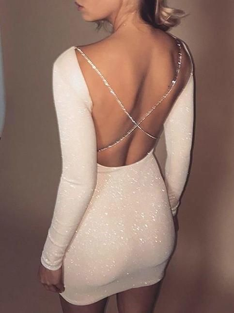 Sexy White Sequins Homecoming Dress,Tight Long Sleeves Mini Homecoming Party Dress,Custom Made Cocktail Dress