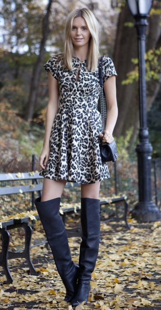 b1d3c1f3fd8 leopard print dress with over the knee boots