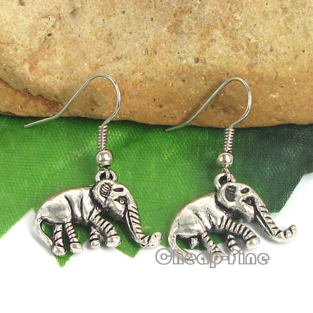 Lots 10Pairs Vintage Tibetan silver Elephant charm pendant Dangle Earrings #cheapfine #DropDangle