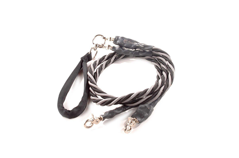 Bungee Pupee 4 Feet Double X Large Leash Grey Black