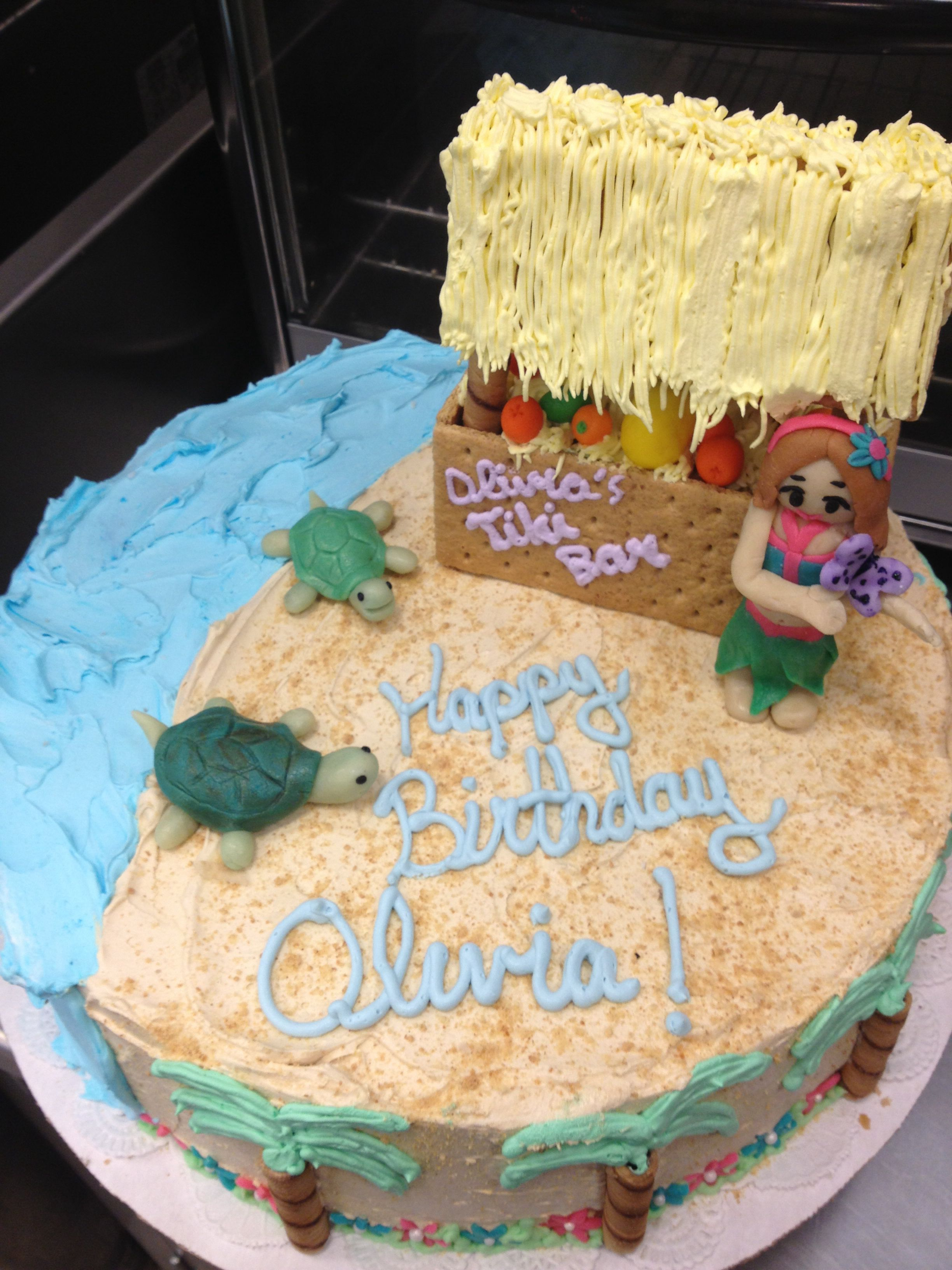 Hawaii cake. Ice cream with fondant decorations and graham
