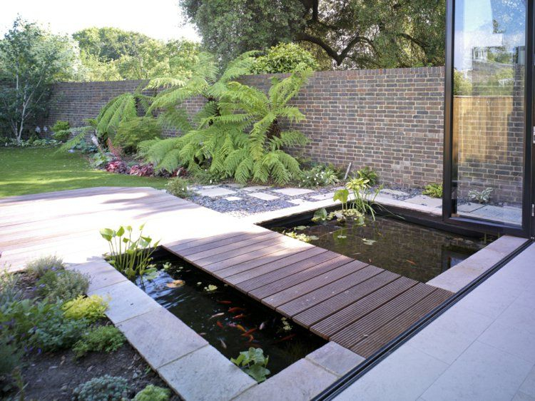 Gartenteich Bilder Gartengestaltung Holz und Stein Teich backyard