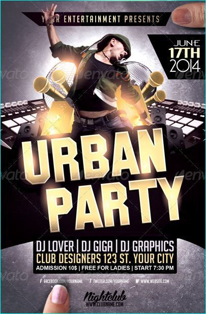 Urban Hip Hop Party Flyer Template  Party Flyer Templates For