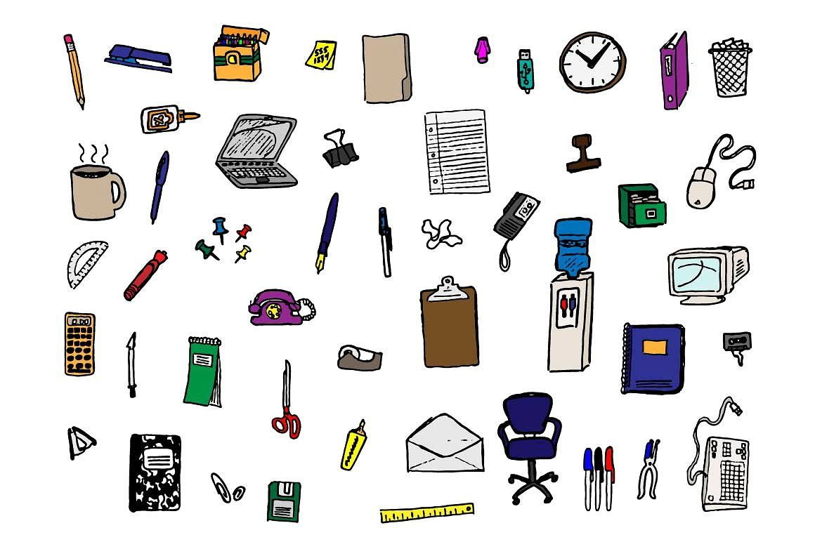 48 Hand Drawn Office Supply Doodles How To Draw Hands Doodles Pencil Illustration
