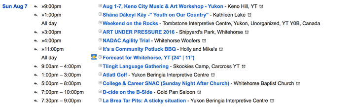 Calendar of Events in the Yukon  http://Yukon.Events/  Hashtag Your Experience