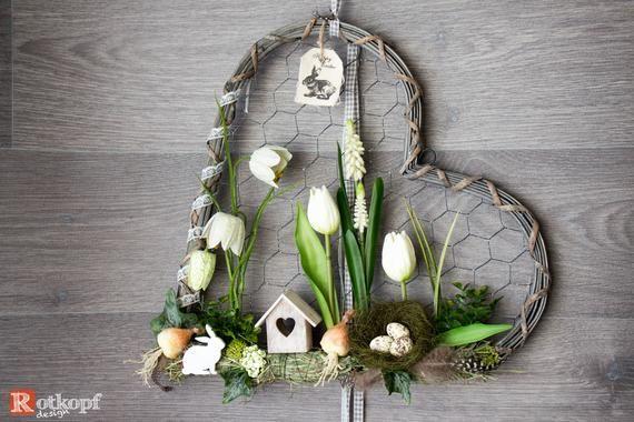 Photo of Porta ghirlanda a forma di cuore porta ghirlanda volte diverse decorazioni pasquali primavera Pasqua porta ghirlanda decorazione primavera