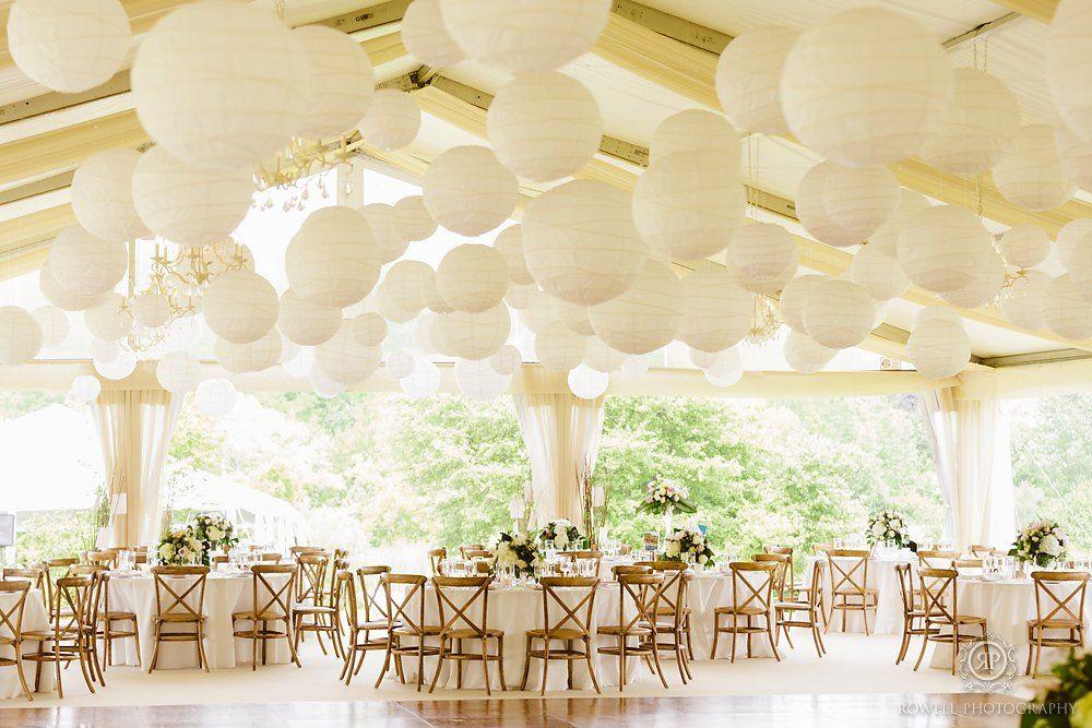 White paper lanterns wedding reception decor