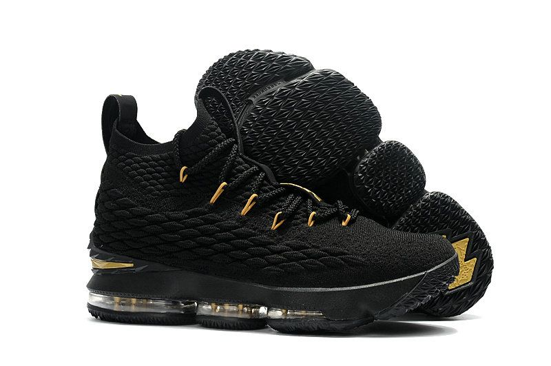 8197f8e8a0d 2018 New Style Nike LeBron 15 Mens Basketball Shoes Sneakers Core Black Gold