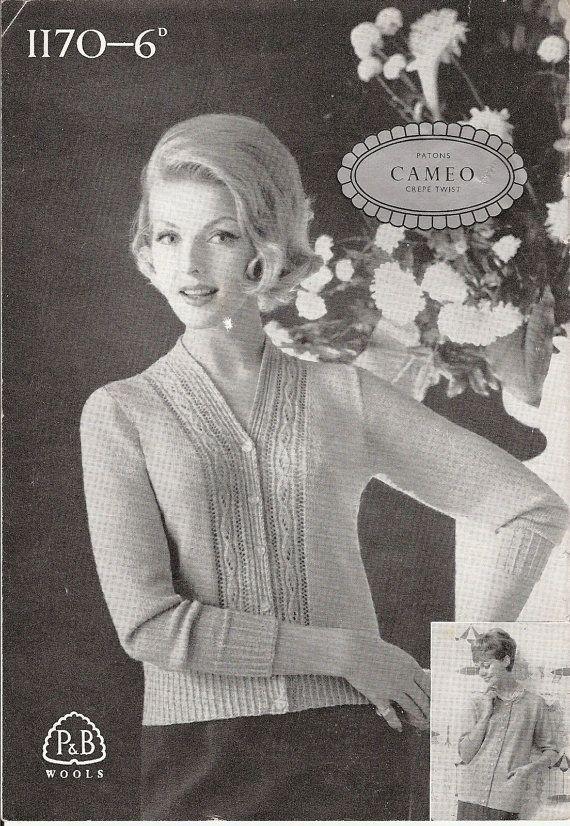 Vintage Knitting Pattern: 1950s Ladies Cardigan, 2 patterns in one ...