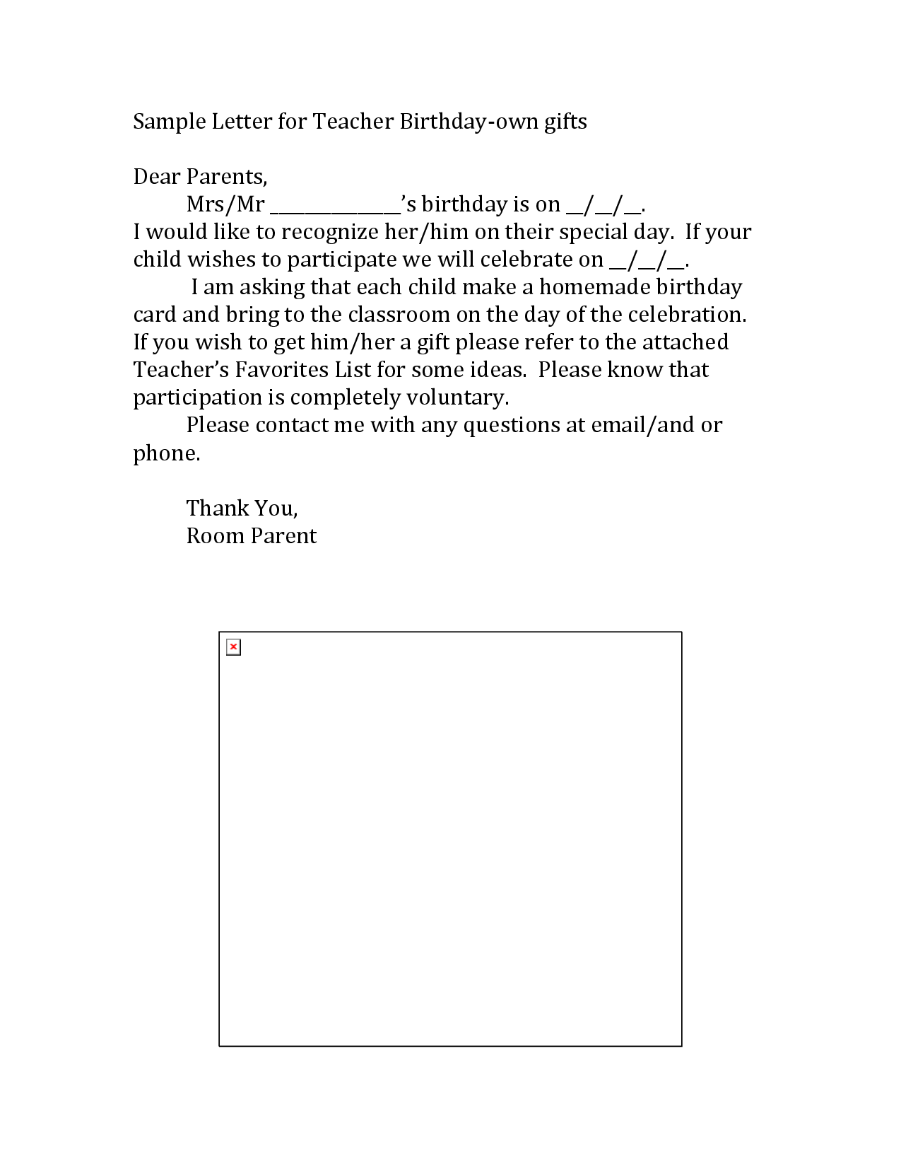 teacher templates letters parents sample letter for teacher birthday collecting _ for a gift
